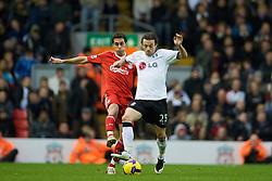 LIVERPOOL, ENGLAND - Saturday, November 22, 2008: Liverpool's Alvaro Arbeloa and Fulham's Simon Davies during the Premiership match at Anfield. (Photo by David Rawcliffe/Propaganda)