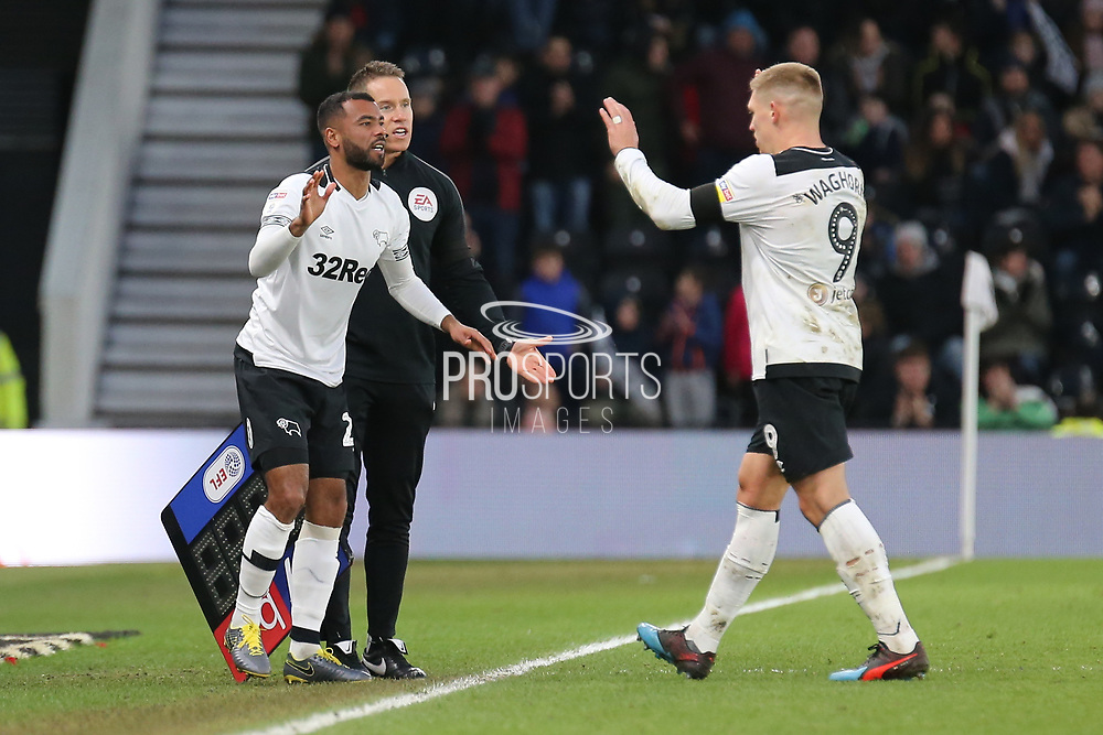 Derby County defender Ashley Cole makes his Derby debut as he comes on for Derby County forward Martyn Waghorn during the EFL Sky Bet Championship match between Derby County and Hull City at the Pride Park, Derby, England on 9 February 2019.