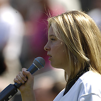 09 September 2007:  Julienne Irwine, a finalist in the Americas Got Talent television show, sings the National Anthem prior to the game between the Boston Red Sox and the Baltimore Orioles.  The Red Sox defeated the Orioles 3-2 at Camden Yards in Baltimore, MD.  ****For Editorial Use Only****