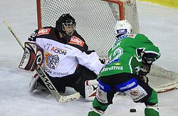 Goalkeeper of Jesenice Gaber Glavic vs Todd Elik at 39th Round of EBEL League ice hockey match between HDD Tilia Olimpija and HK Acroni Jesenice, on December 30, 2008, in Arena Tivoli, Ljubljana, Slovenia. Tilia Olimpija won 4:3. (Photo by Vid Ponikvar / SportIda).