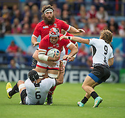 Leicester, Great Britain, Canadian Captian, Jamie CUDEMORE driving through with the ball, during the Pool D game, Canada vs Romania.  2015 Rugby World Cup,  Venue, Leicester City Stadium, ENGLAND.  Tuesday,   06.10.2015.   [Mandatory Credit; Peter Spurrier/Intersport-images]