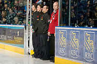KELOWNA, CANADA, NOVEMBER 9: Prospera Place Game Crew stands at the ice during the national anthem as the Red Deer Rebels visit the Kelowna Rockets  on November 9, 2011 at Prospera Place in Kelowna, British Columbia, Canada (Photo by Marissa Baecker/Shoot the Breeze) *** Local Caption ***