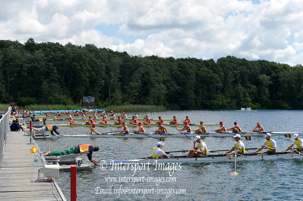 Trackai. LITHUANIA.  Men's Eight,  Repecage.    Start.  2012 FISA U 23 Rowing Championships, Lake Galve.   12:25:09  Friday  13/07/2012 [Mandatory Credit: Peter Spurrier/Intersport Images]..Rowing, U23, 2012.