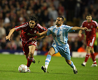 Photo: Paul Greenwood.<br />Liverpool v Marseille. UEFA Champions League, Group A. 03/10/2007.<br />Liverpool's Sebastian Leto, (L) and Karim Ziani battle for the ball