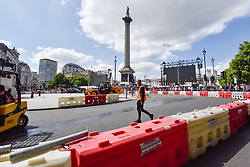 © Licensed to London News Pictures. 12/07/2017. London, UK. Safety barriers by Trafalgar Square for the Formula One Car parade.  Formula One racing comes to Trafalgar Square and Whitehall for a promotional event called F1LiveLondon ahead of the British Grand Prix at Silverstone. Photo credit : Stephen Chung/LNP