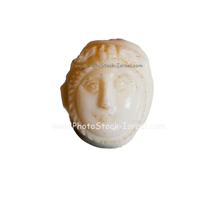 A white Cameo mask of Medusa 2-3rd century CE