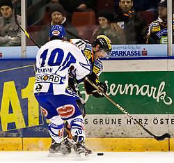 24.01.2012, Eisstadion Liebenau, Graz, AUT, EBEL, Moser Medical Graz 99ers vs EC Rekord Fenster VSV, im Bild Brett Lysak, (99ers, #11), Derek Damon, (VSV, #10) // during the ice hockey game between Graz 99ers and EC Rekord Fenster VSV at the Eisstadion Liebenau, Graz, Austria, 2012/01/24, EXPA Pictures © 2012, PhotoCredit: EXPA/ M. Kuhnke