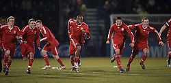 BRISTOL, ENGLAND - Thursday, January 15, 2009: Liverpool players celebrate their penalty shoot-out victory over Bristol Rovers during the FA Youth Cup match at the Memorial Stadium. L-R: Chris Buchtmann, Jack Metcalf, Lauri Dalla Valle, David Amoo, Nathan Eccleston, Steven Irwin. (Mandatory credit: David Rawcliffe/Propaganda)