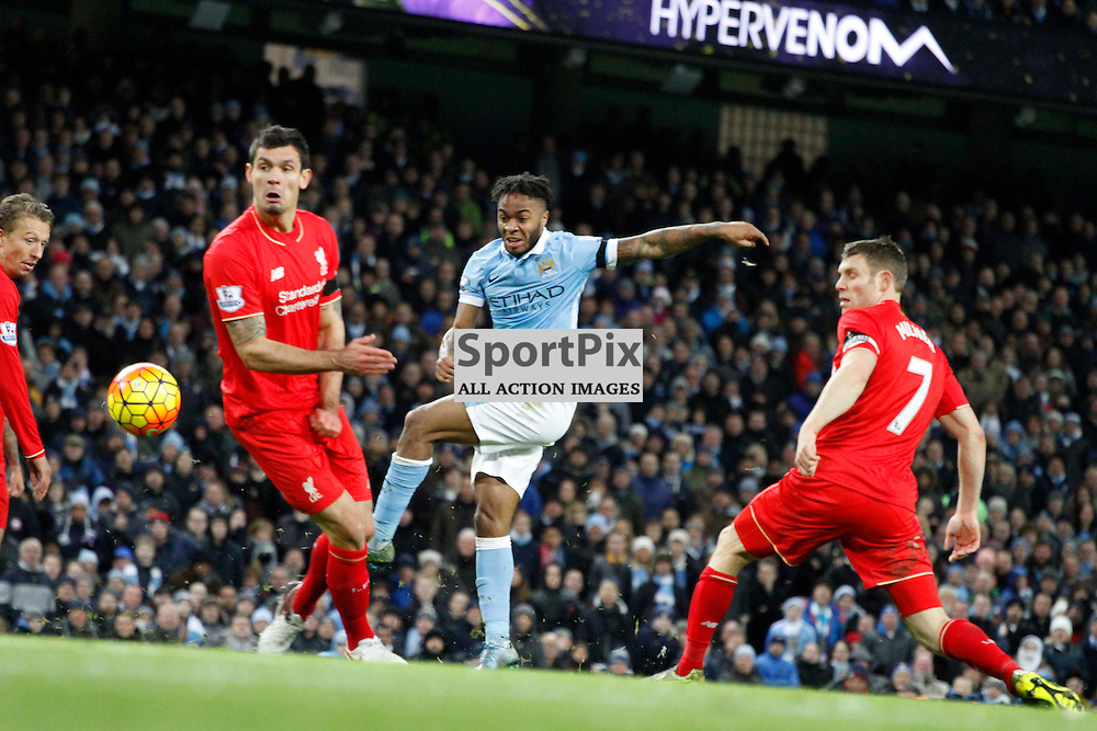 Raheem Sterling shoots during Manchester City vs Liverpool, Barclays Premier League, Saturday 21st November 2015, Etihad Stadium, Manchester