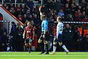 Red Card - Referee Craig Pawson sends of Juan Foyth (21) of Tottenham Hotspur during the Premier League match between Bournemouth and Tottenham Hotspur at the Vitality Stadium, Bournemouth, England on 4 May 2019.