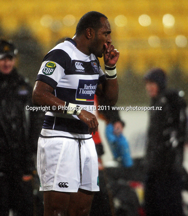 Auckland's Joe Rokocoko tries to keep warm. ITM Cup rugby union - Wellington Lions v Auckland at Westpac Stadium, Wellington, New Zealand on Saturday, 23 July 2011. Photo: Dave Lintott / photosport.co.nz