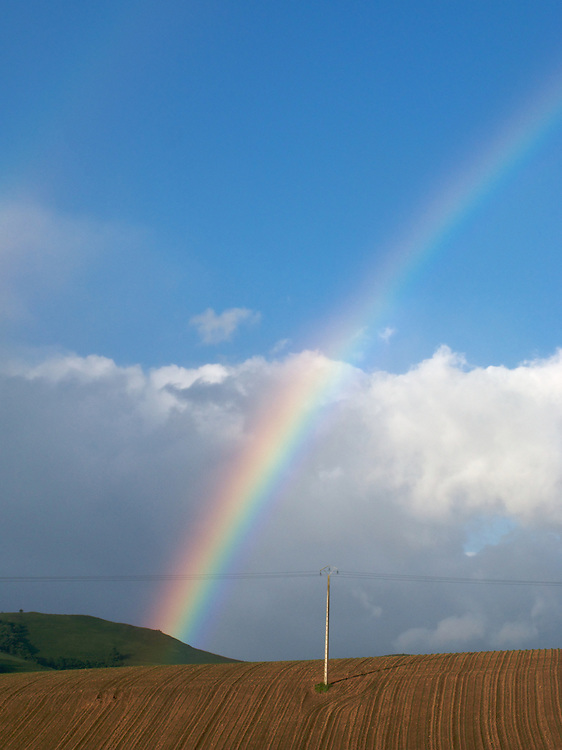Just as the climb over the pass began, there was a shower of rain and a rainbow. Saint Jean Pied de Port is the starting point for many who start the almost 800 kilometre walk to Santiago de Compostela in Spain.