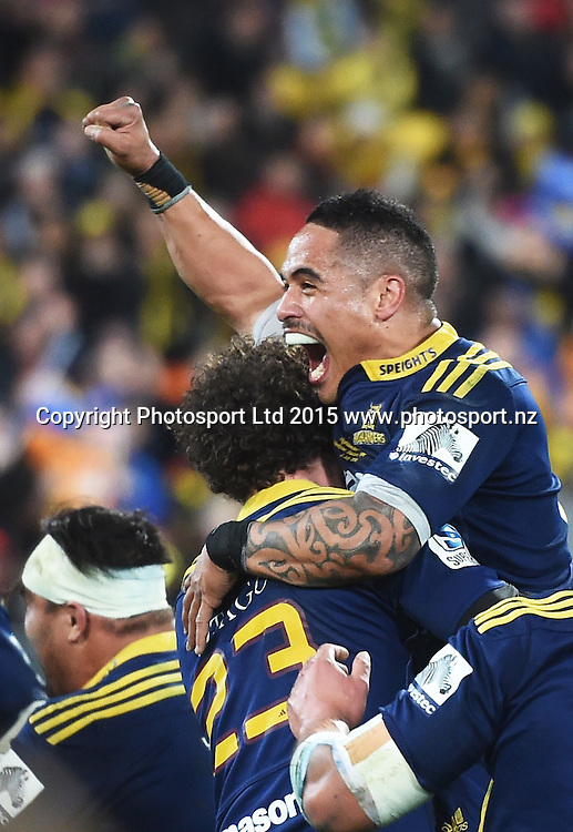 Aaron Smith celebrates during the Super Rugby Final between the Hurricanes and Highlanders at Westpac Stadium in Wellington., New Zealand. Saturday 4 July 2015. Copyright Photo: Andrew Cornaga / www.Photosport.nz