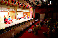 The Date Jidai Mura is a theme park devoted to life in Japan during the Edo period. Here guests enjoy a comedy show on stage.
