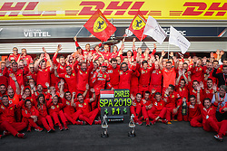 SPA-FRANCORCHAMPS, Sept. 2, 2019  Team members of Ferrari celebrate after the Formula 1 Belgian Grand Prix at Spa-Francorchamps Circuit, Belgium, Sept. 1, 2019. (Credit Image: © Zheng Huansong/Xinhua via ZUMA Wire)