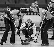 "Glasgow, SCOTLAND, Russian, ""Skip"", Victoria MOISEEVA, during the, Round Robin Game,  Scotland vs Russia,  Le Gruyère European Curling Championships, 2016 Venue, Braehead,  Scotland,<br />