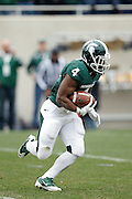 EAST LANSING, MI - NOVEMBER 19: Edwin Baker #4 of the Michigan State Spartans runs with the football against the Indiana Hoosiers at Spartan Stadium on November 19, 2011 in East Lansing, Michigan. Michigan State won 55-3. (Photo by Joe Robbins) *** Local Caption *** Edwin Baker