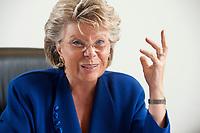 17 SEP 2010, BERLIN/GERMANY:<br /> Viviane Reding, EU-Kommissarin fuer Justiz, Grundrechte und Buergerschaft, waehrend einem Interview, Vertretung der Europaeischen Kommision in Berlin<br /> IMAGE: 20100917-01-005
