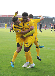 Jake Gosling of Bristol Rovers, Ellis Harrison and Lee Mansell do a little jig to celebrate the fourth goal - Mandatory byline: Neil Brookman/JMP - 07966 386802 - 03/10/2015 - FOOTBALL - Globe Arena - Morecambe, England - Morecambe FC v Bristol Rovers - Sky Bet League Two
