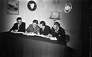09/06/1967<br /> 06/09/1967<br /> 09 June 1967<br /> Esso and Unions sign a Productivity Agreement. the agreement was between Esso Petroleum Company (Ireland) Ltd and the Irish Transport and General Workers Union; the Amalgamated Transport and General Workers Union and the Amalgamated Engineering Union. Picture shows Mr. J.H. Donvan (2nd from left) Managing Director Esso (Ireland) Ltd. signing the agreement watched by officials from the three unions, who also signed on behalf of their respective unions. From left: Mr. Chris Kirwan, National Group Secretary, I.T.&G.W.U.; Mr. Donovan; Mr. Charles Douglas, Branch Secretary, A.T. & G.W.U. and Mr. Timothy Keane, National Organiser, A.E.U..