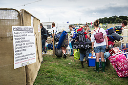 A warning sign about prohibited items at the Brownstock festival.