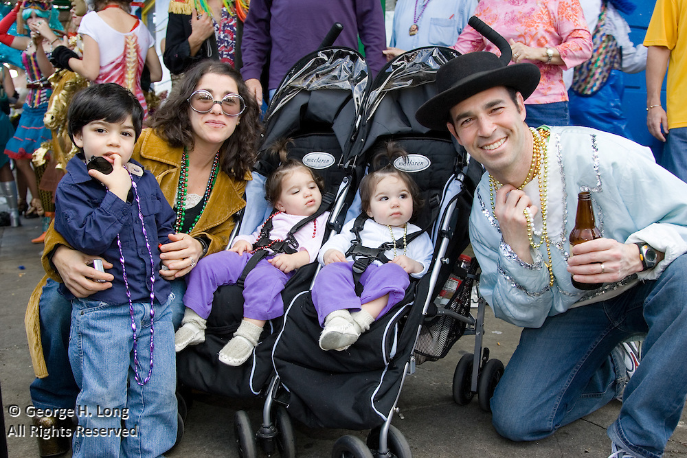 Jonathan Blotner and family at Mardi Gras in Faubourg Marigny of New Orleans