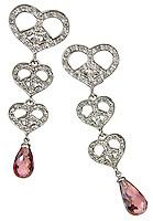 pink teardrop jewel on diamond peace heart earrings