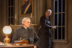 © Licensed to London News Pictures. 24/09/2013. The Rose Theatre Kingston and English Touring Theatre present Ghosts by Henrik Ibsen. Directed by Stephen Unwin. Featuring Pip Donaghy, Patrick Drury, Florence Hall, Kelly Hunter & Mark Quartley. Picture: Patrick Drury & Kelly Hunter. Photo credit: Tony Nandi/LNP