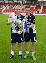 WREXHAM, WALES - Saturday, May 3, 2014: The New Saints' Ryan Fraughan and Sam Finley with the trophy after beating Aberystwyth Town 3-2 during the Welsh Cup Final at the Racecourse Ground. (Pic by David Rawcliffe/Propaganda)