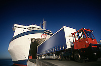 Truck exiting ferry Port Melbourne Victoria Australia