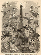 Great Attraction - Birds of all Nations Flying to La Tour Eiffel'.  Cartoon by Edward Linley Sambourne celebrating the building of the Eiffel Tower and the opening of the Exposition Universelle, Paris, France, on 6 May 1889.  From 'Punch' (London, 28 June 1889).