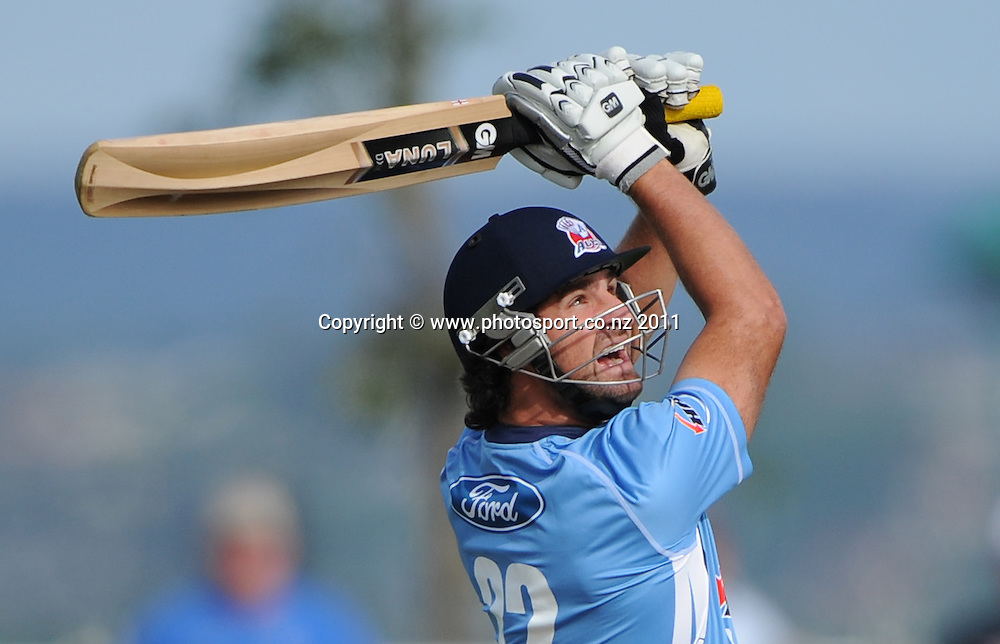 Auckland batsman Colin de Grandhomme in action during the HRV Twenty20 Cricket match between the Auckland Aces and Otago Volts at Colin Maiden Oval in Auckland, New Zealand on Friday 6 January 2012. Photo: Andrew Cornaga/Photosport.co.nz