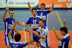 12-02-2011 VOLLEYBAL: AB GRONINGEN/LYCURGUS - DRAISMA DYNAMO: GRONINGEN<br /> In een bomvol Alfa-college Sportcentrum werd Dynamo met 3-2 (25-27, 23-25, 25-19, 25-23 en 16-14) verslagen door Lycurgus / Sime Vulin (7), Ron van Steen (8), Willem-Maarten Heins (12) en Marcel Birza (14)<br /> ©2011-WWW.FOTOHOOGENDOORN.NL