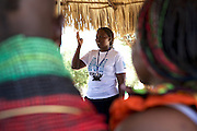 Rebecca, a Merlin trained midwife, talks to a group of women Lokichar District Hospital, Turkana, northern Kenya.
