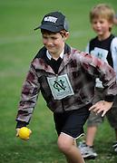 Ruben cook cricket fan about to bowl at the National Bank's Cricket Super Camp , University oval, Dunedin, New Zealand. Thursday 2 February 2012 . Photo: Richard Hood photosport.co.nz