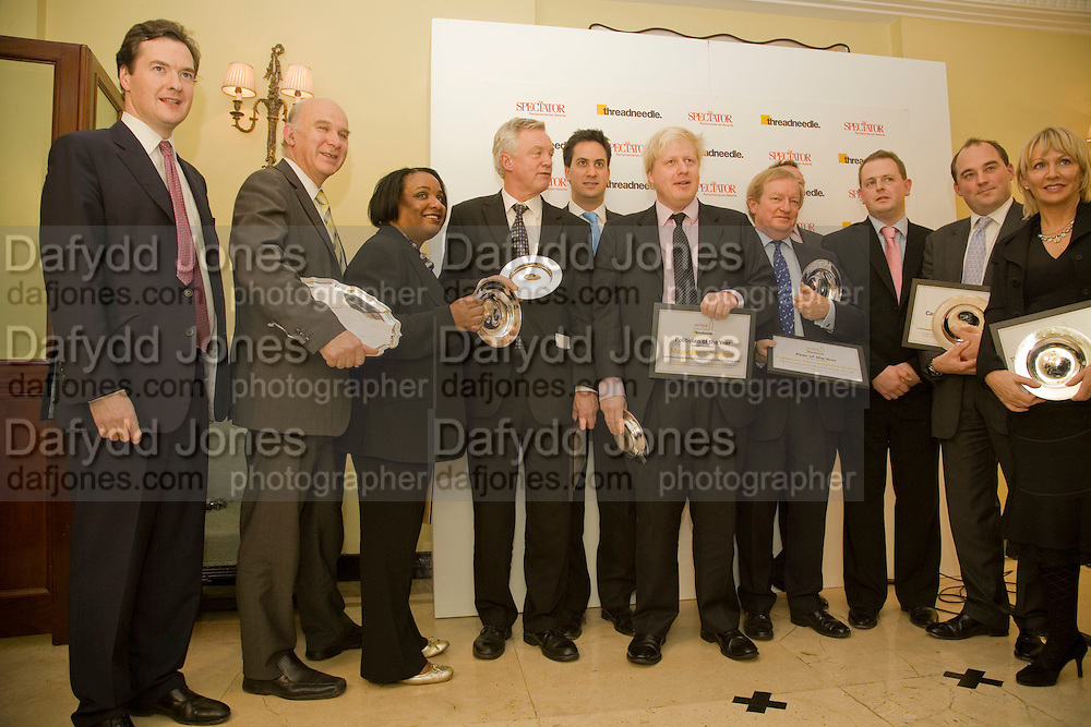 WINNERS, INC: GEORGE OSBORNE; ED MILIBAND; DIOANE ABBOT; DAVID DAVIS; BORIS JOHNSON. Spectator Parliamentarian Of The Year Awards<br />Claridge's Hotel, Brook Street. London. 13 November 2008 *** Local Caption *** -DO NOT ARCHIVE-© Copyright Photograph by Dafydd Jones. 248 Clapham Rd. London SW9 0PZ. Tel 0207 820 0771. www.dafjones.com.