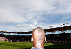 """Neeskens Kebano sports a new hairstyle as he watches with his """"mohawk"""" from the sideline. Toulouse v Paris Saint Germain (1-3), Ligue 1, Stade Municipal, Toulouse, France, 28th August 2011."""