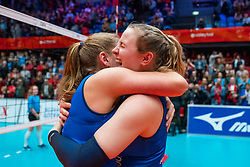 Carlijn Ghijssen-Jans #10 of Sliedrecht Sport, Brechje Kraaijvanger #2 of Sliedrecht Sport celebrate in the cup final between Sliedrecht Sport and Laudame Financials VCN on February 16, 2020 in De Maaspoort in Den Bosch.