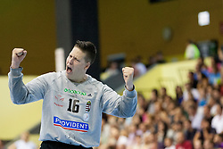 Roland Mikler #16 of Hungary during handball match between National teams of Slovenia and Hungary in play off of 2015 Men's World Championship Qualifications on June 15, 2014 in Rdeca dvorana, Velenje, Slovenia. Photo by Urban Urbanc / Sportida