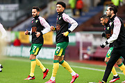Norwich City defender Jamal Lewis (12) warming up before the FA Cup match between Burnley and Norwich City at Turf Moor, Burnley, England on 25 January 2020.