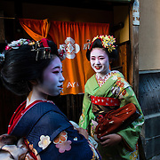Tourists dressed as Geisha in Gion, a historical district in Kyoto.