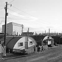 T&iacute;mam&oacute;t i vesturb&aelig;num, 1962. &Iacute; baks&yacute;n m&aacute; sj&aacute; Hjar&eth;arhaga 41-45.<br /> <br /> Old meets new in the west of Reykjav&iacute;k, 1962