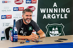 (Free to use courtesy of Sky Bet) Captain Gary Sawyer speaks at a press conference as Plymouth Argyle celebrate promotion to League One after the curtailment of the regular season due to the Covid-19 pandemic - Rogan/JMP - 01/07/2020 - Home Park - Plymouth, England - Sky Bet League 2.