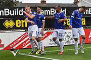 Oldham Athletic forward Sam Surridge (9) scores goal to go 0-2 during the EFL Sky Bet League 2 match between Grimsby Town FC and Oldham Athletic at Blundell Park, Grimsby, United Kingdom on 15 September 2018.