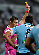 Waratahs Sekope Kepu is shown the yellow card in the Super 15 rugby match against the Highlanders, Forsyth Barr Stadium, Dunedin, New Zealand, Saturday, March 14, 2015. Credit: SNPA/Dianne Manson