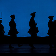 September 23, 2015 - New York, NY : Actors are silhouetted during a set change as they perform in a dress rehearsal for Gaetano Donizetti's 'Anne Bolena' at the Metropolitan Opera at Lincoln Center on Wednesday. CREDIT: Karsten Moran for The New York Times