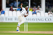 Jeetan Patel of Warwickshire bowling during the Specsavers County Champ Div 1 match between Somerset County Cricket Club and Warwickshire County Cricket Club at the Cooper Associates County Ground, Taunton, United Kingdom on 22 May 2017. Photo by Graham Hunt.