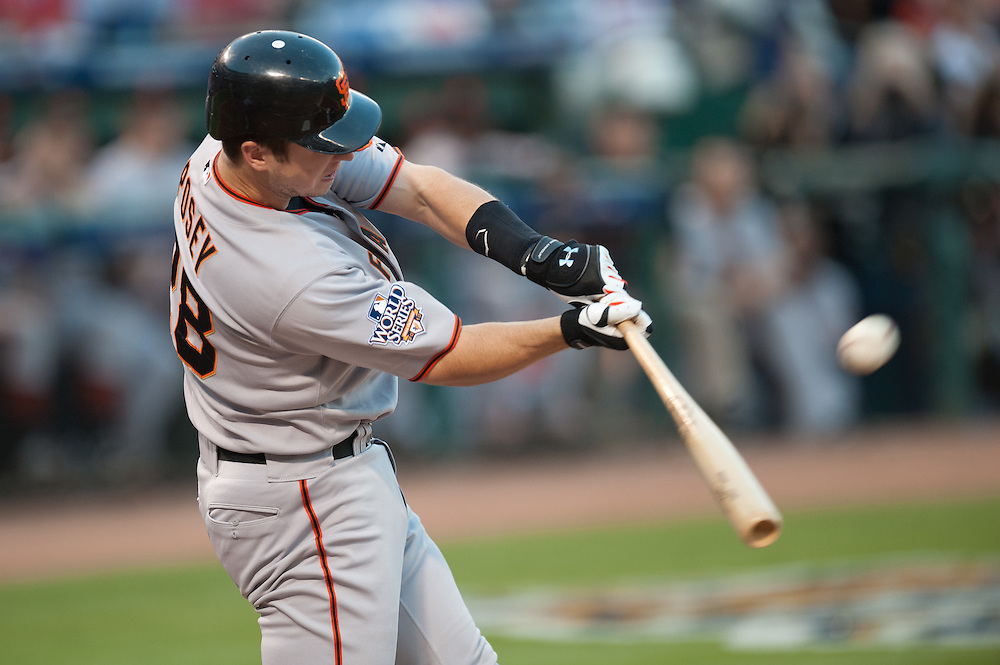 ARLINGTON, TX - OCTOBER 30: Buster Posey #26 of the San Francisco Giants bats against the Texas Rangers in Game Three of the 2010 MLB World Series at Rangers Ballpark in Arlington on October 30, 2010 in Arlington, Texas.The Rangers defeated the Giants 4 to 2.( Photo by: Rob Tringali) *** Local Caption *** Buster Posey