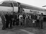 24/02/1979.02/24/1979.24th February 1979. Photograph of the group of 15 walkers who left Cork to walk to Rome in aid of charity returning to Ireland. Pictured second to the left is Mr Michael Fingleton, Chairman, Concern.
