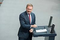 21 MAR 2019, BERLIN/GERMANY:<br /> Christian Lindner, FDP Fraktionsvorsitzender, haelt eine REde, BUndestagsdebatte zur Regierungserklaerung der Bundeskanzlerin zum Europaeischen Rat, Plenum, Deutscher Bundestag<br /> IMAGE: 20190321-01-073
